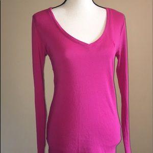 Ralph Lauren Womens Pink V Neck Long Sleeve Shirt